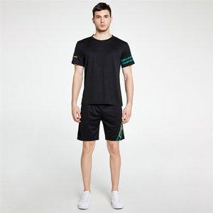 Hombre del diseñador de impresión de letras se adapta a chándales de la moda Color Natural Crew informal de manga corta cuello camisetas Pantalones cortos