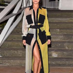 Designer Celebrity longues Style Robes chemise 2019 Début de l'automne Marque Mode féminine Contraste Couleur Poches à manches longues imprimé Robes Tuniques
