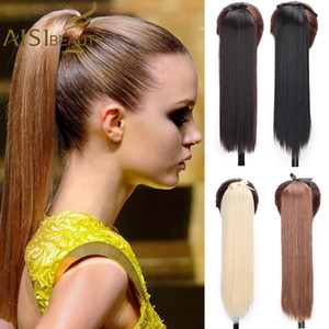 Synthetic Ponytails(For White) AISI BEAUTY Long Straight Hair Extensions Synthetic High Temperature Silk Straight Ponytail Hair Blonde B...