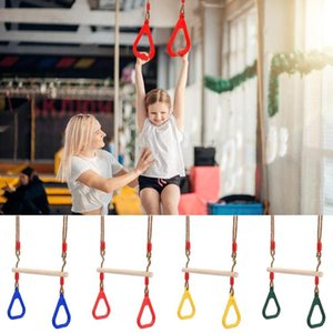Children's Wooden Trapeze Swing Bar with Plastic Gym Rings Indoor Outdoor Fun Kids Children Fitness Rings Swing ZZA2359 5Pcs