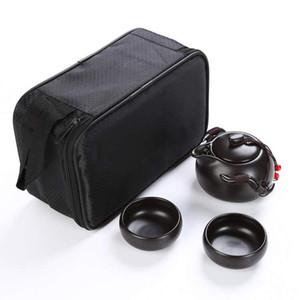 Pote de Kung Fu de viaje portátil chino hecho a mano - Tetera de cerámica 4 Tazas de té Bandeja de té con bolsa, etc.