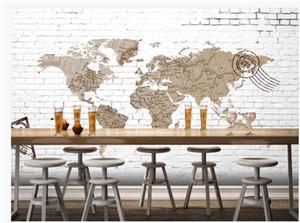 Пользовательские фото обои 3d обои настенные фрески Gym карта фресковой для гостиной Урожай карта мира белой кирпичной стены фон декор стены