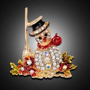 ingrosso di gioielli strass di Natale per bambini con diamante Snowman Spilla