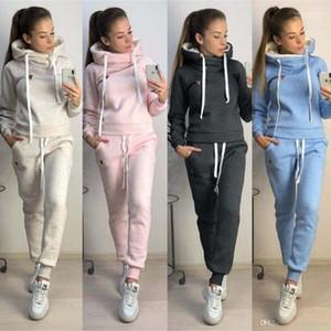 Giyim Slim Fit Gündelik Giyim Kadınlar Kış Sonbahar Spor Takımları Fleece Kapüşonlular Pantolon 2parça ayarlar