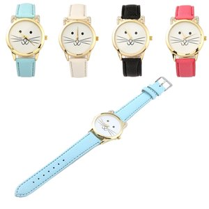 Free DHL 4 Colors Cat Ear Lady Watch Fashion Cute Cartoon Quartz Wrist Watch for Women Girls Fashion Daliy Accessories Gifts