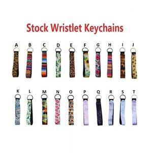New Armband Schlüsselanhänger mit Blumenmuster Schlüsselanhänger Neopren Schlüsselanhänger Wristlet Schlüsselanhänger Partei-Bevorzugung Designs 20 Großhandel DHA563