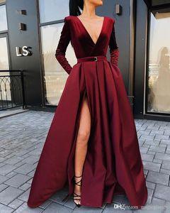 2020 новое Прибытие с длинными рукавами вечерние платья бархат V-образным вырезом зима женщины вечерние платья бордовый Атлас платье сторона щели