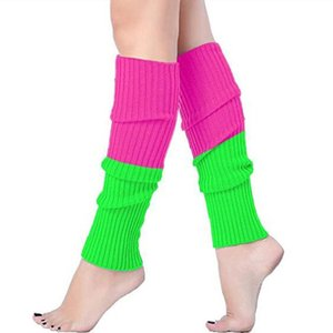 Hot Fashion Leg Warmers Women Warm Knee High Winter Knit Patchwork Leg Warmer Socks Boot Long Sock calentadores de pierna mujer