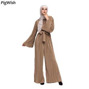 2018 Abaya Dubai musulmanes plisados de las mujeres del mono de los mamelucos pierna ancha pantalones ropa turca islámica árabe de Eid Mubarak marroquíes