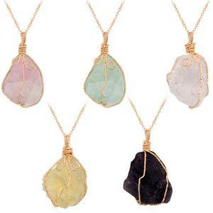 10PCS / set Collana con ciondolo in pietra di ametista grezza naturale per donne che guariscono i cristalli di Chakra con due catene diverse