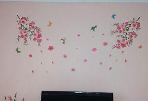 HonC Pegatinas de pared de flores grandes y elegantes Aves de flor de durazno agraciadas Pegatinas de marca Muebles Decoración romántica de la sala de estar
