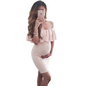 2018 Vestido de Verão Mulheres Grávidas Babados Ombro Enfermagem Maternidade Branco Tamanho Grande Roupas Fotografia Adereços S-XXXL