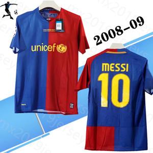 Version du joueur 2008-09 Accueil Rétro Soccer Jerseys Messi Xavi Henry Puyol David Villa Match Dêtres 08 09 Chemises de football rétro classiques