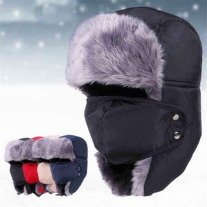 Moda bomber russo donna uomo inverno cappello da sci antivento con paraorecchie e maschera cappelli caldi trooper berretto da trappola caccia cacciatori berretto