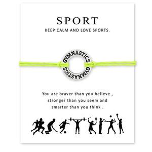 Nuevo I Love Gymnastics Pulseras con dijes deportivos con tarjeta mujer Keep Calm and Love Sports Cuerda de cera Brazalete para hombre Diseñador de la marca Joyería