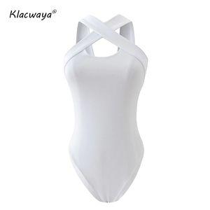 KlaCwaya 2020 Yaz Nervürlü Beyaz Kadın Bodysuit Spagetti Kayışı X Sapanlar Vücut Tops Kolsuz Seksi Gündelik Backless Bodysuits Ijhde