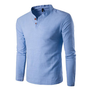 Button T Shirt Uomo Slim Fit Maglie a manica lunga T-shirt solido T-shirt di lino Casual Top Blouse