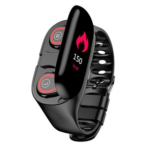 Wireless Bluetooth Earphone With Heart Rate Monitor Stereo Earbud Headset Long Time Standby Sport Watch smart band Wristband