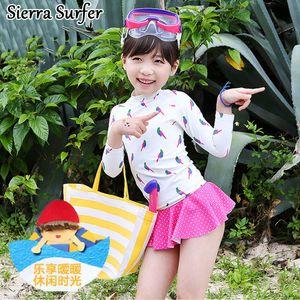 Купальник для девочек Детский купальный костюм для девочек Бикини Купальный костюм детский 2018 года с длинным рукавом Солнцезащитная юбка Lint Baby с костюмом