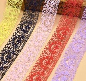 10 ярдов кружева ленты 40 мм широкий белый вышитые чистой отделкой ткани кружевной отделкой для швейных аксессуаров одежда украшения