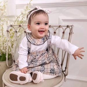 Livraison gratuite 0-24M Nouveau-né bébé Bébés filles Romper Salopette Tops + fleur Ensemble jupe vêtements robe