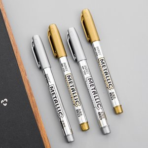 2pcs DIY Gold And Silver 1.5 mm Metallic Marker Pen Water Secure Permanent Paint For Painting Pens Student Supplies Crafted Art