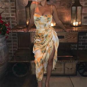 Imprimé été Mesdames Floral Robes drapées fendus asymétrique Sexy Girls vacances Robes Spaghetti Strap lambrissé Womens Robes Casual