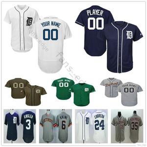 Özel Detroit Tigers Jersey Erkek Kadın Çocuk Gençlik Beyzbol Formalar Deplasman Logolar Ücretsiz Kargo Dikişli