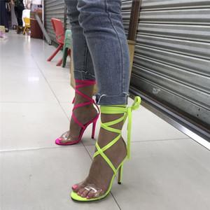 2020 mujeres atractivas del verano de las sandalias verdes de neón 11cm tacones altos Cruz Correa Stripper Hasta dedo del pie fetiche zapatos de señora Platform Pumps melocotón