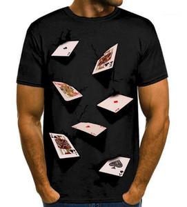 Hommes T-shirts d'été de la mode élégante Casual Top manches courtes T-shirts pour hommes Vêtements d'été Designer Poker 3D