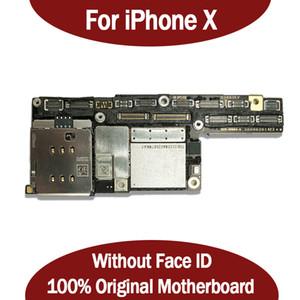 100% original Motherboard para iPhone X Desbloqueo de fábrica Placa base Sin ID de cara Con chips completos IOS System Logic Board Buen funcionamiento