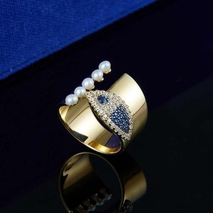 2020 High End Yellow Gold Plated Full Colorful Pearl CZ Fish Ring for Girls Women for Wedding Party Nice Gift