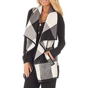 Новые женщины Осень Зима рукавов свитера плюша отворотом плед печати Кардиган Шинель распашонки Карманный Vest Femme