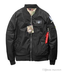 Новые люди вскользь Zipper Thin MA1 Bomber Ветровка Камуфляж Двусторонний носить мужской повседневного воздух форменных Толстых хлопка куртка