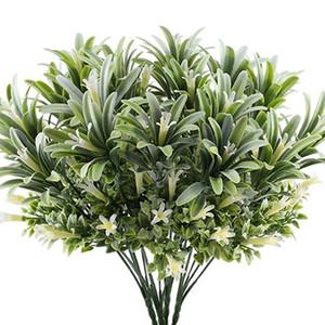 Artificielle En Plastique Fleurs De Lys Plantes Faux Feuilles Arbustes De Jardin Herbe Verte Buissons Faux Morning Glory Maison Décoration Extérieure