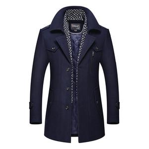 Moda Uomo cappotto di lana di colore solido uomini Business Casual Designer uomini lungo cappotto di lana Trench modo maschio causale Top