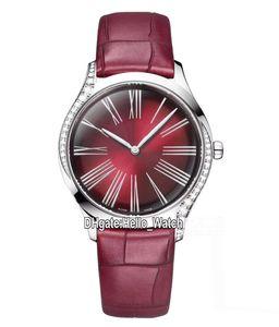 Nouveau 428.18.36.60.11.001 Diamond Bezel Boîtier en acier rouge Dial suisse Quartz Montre Femme Big Roma Markes rouge avec bracelet en cuir Montres Hello_watch