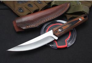 1pcs Nouvelle survie droite Couteau de chasse D2 Miroir polonais point de chute Lame Full Tang G10 poignée en cuir gaine