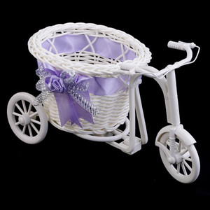 Rattan tricycle weave flower basket fruit cosmetic organizer Garden home desk office Wedding Party Decoration gift