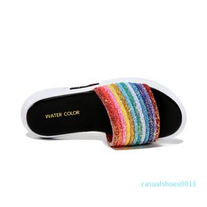 Guciheaven Лето плоского дно Открытый Отдых Корейская версия Open-носочной Цветные плоские Тапочки c11