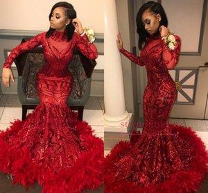 Kırmızı Dantel Mermaid Uzun Gelinlik Modelleri 2019 Uzun Kollu Sequins Aplike Tüy Sweep Tren Örgün Parti Abiye giyim Törenlerinde BC1327
