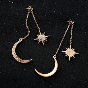 Orecchini Charming di cristallo lucida della stella luna orecchini d'oro a colori Crescent stella della donna per le donne Diamante earringsT2C5135