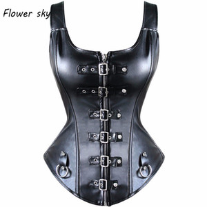 Sexy Black Faux Harness Fibbia in pelle Overbust Gilet Stretto Allacciatura Corsetto Top Basco Steampunk Corselet C0268 Plus Size 6xl J190701