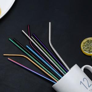 Aço inoxidável 26,5 centímetros de beber colorido das palhas do metal Palhas do arco-íris Multi-cor de palha reutilizável Beba Straw Wedding Party Beber Ferramenta