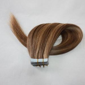 인간의 머리 확장 150g 60pieces 페루 머리 금발 더블 양면 접착 저렴한 무료 배송 피아노 색 4P27 14P24 24p613 테이프