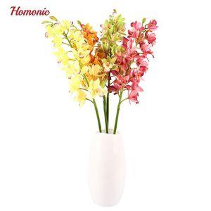 Novo Design real toque cymbidium 21 cabeças mesa alta decoração de flores de casamento noiva DIY mão flores P25 casa decoração artificial orquídea