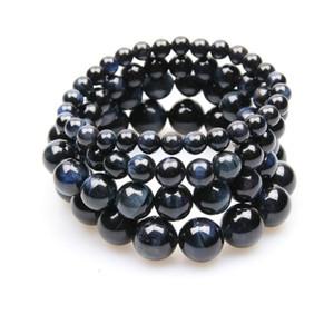 Link, Kette Natürliche dunkelblaue Tigerauge Stein Armbänder für Männer Frauen 6mm 8mm 10mm 12mm Runde Glatte Perlen Brazalete Yoga Schmuck