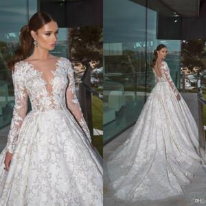 Crystal Design Свадебные платья V шеи длинные рукава кружево пляж Bridals мантий Кнопка Назад Поезд стреловидности Bohemian Vestidos De Noiva Plus Size