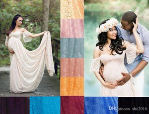 Maxi Pregnancy Maternity Dress for Photo Shoot Drop Shoulder Long Lace A-line Pregnant Wedding Party Gown Flying Sleeves with Chapel Train