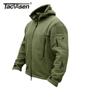 TACVASEN invierno Airsoft chaqueta militar Army Men Fleece Chaqueta térmica táctico capa de la chaqueta con capucha de abrigo con capucha para hombre Ropa MX191128